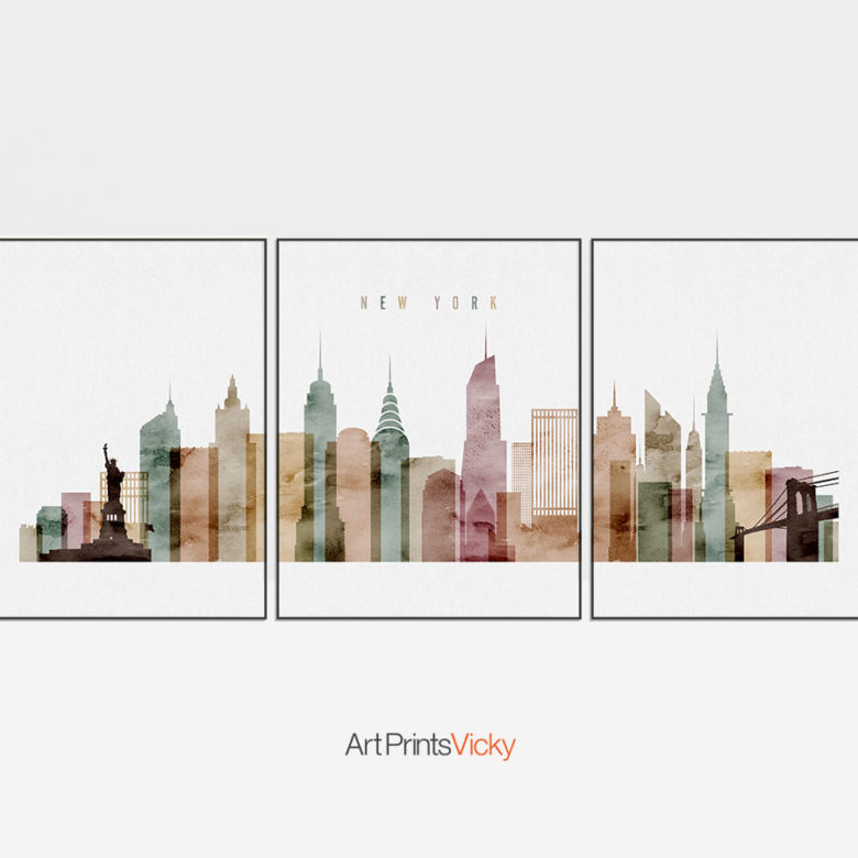 New York wall art set of 3 posters watercolor 1