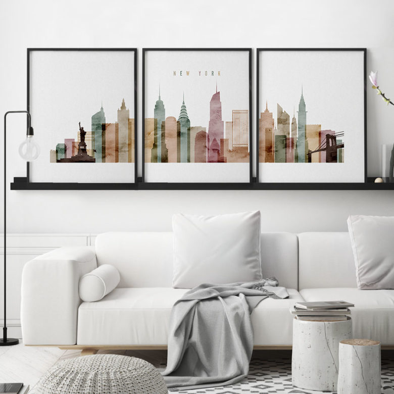 New York wall art set of 3 posters watercolor 1 second