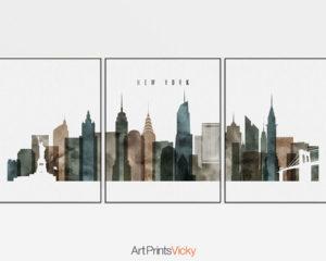 New York set of 3 prints skyline watercolor 2