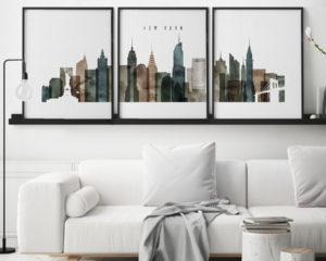 New York set of 3 prints skyline watercolor 2 second
