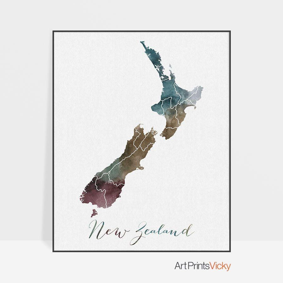 New Zealand map print