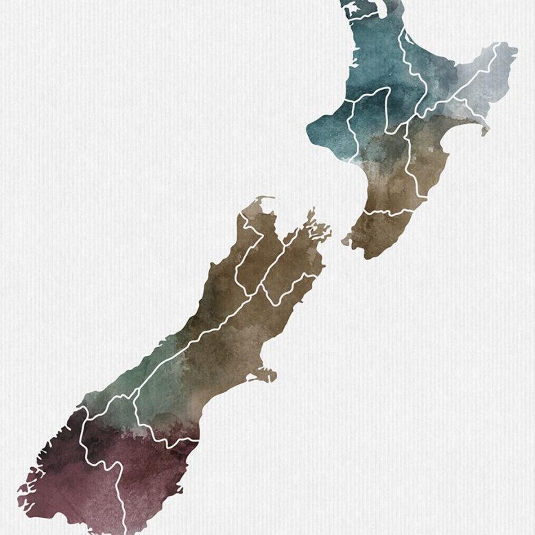 New Zealand map print detail