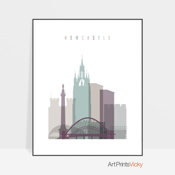 Newcastle print skyline pastel 2