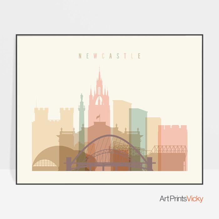 Newcastle poster skyline pastel cream landscape