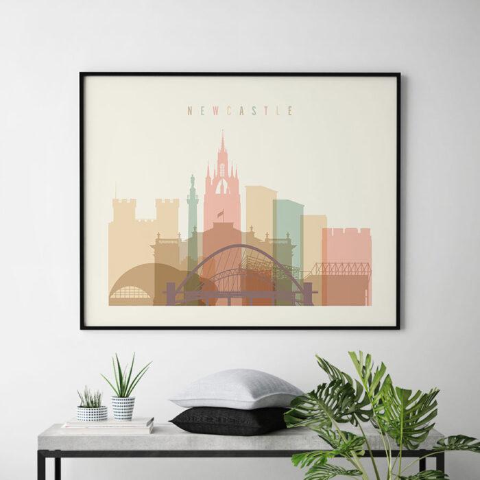 Newcastle poster skyline pastel cream landscape second