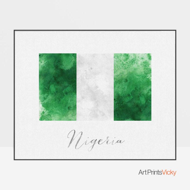 Nigeria flag art print