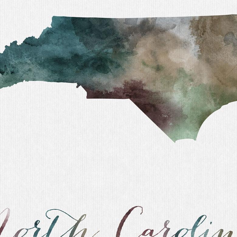 North Carolina State map print detail