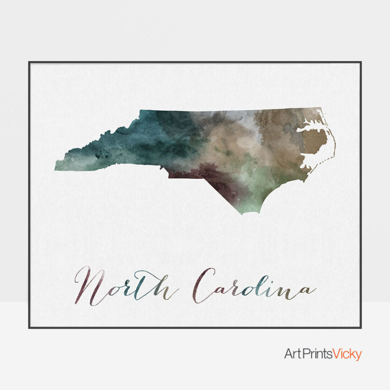 North Carolina State map print
