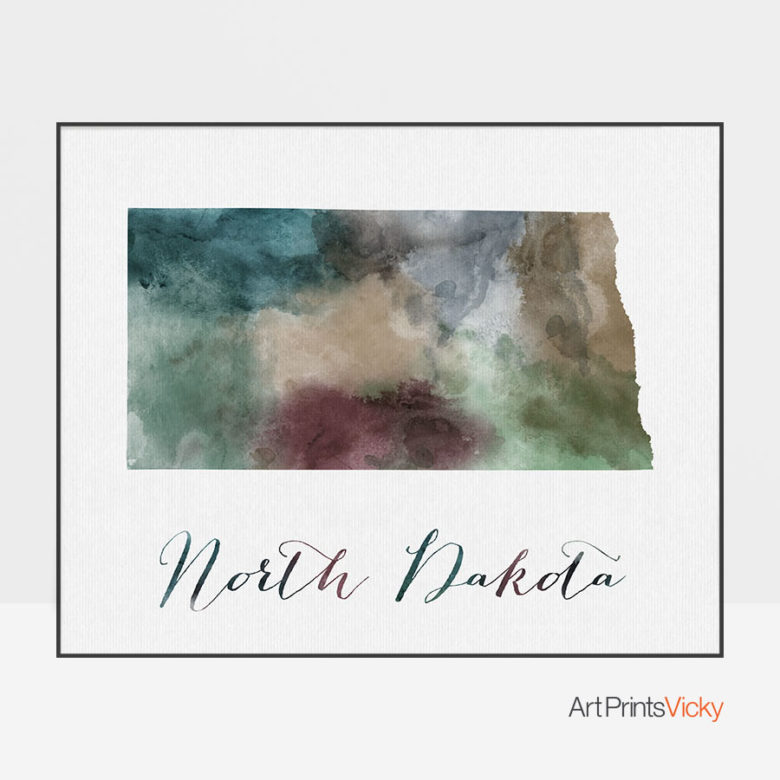 North Dakota State map print