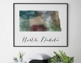 North Dakota State map print second