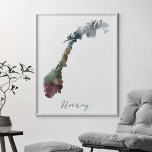 Norway map print second