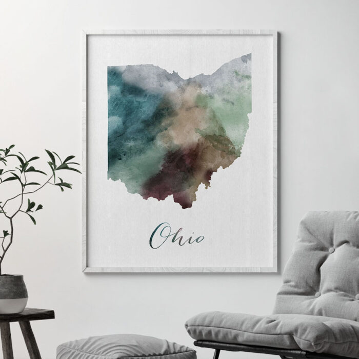 Ohio State map print second