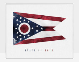 Ohio State flag art print