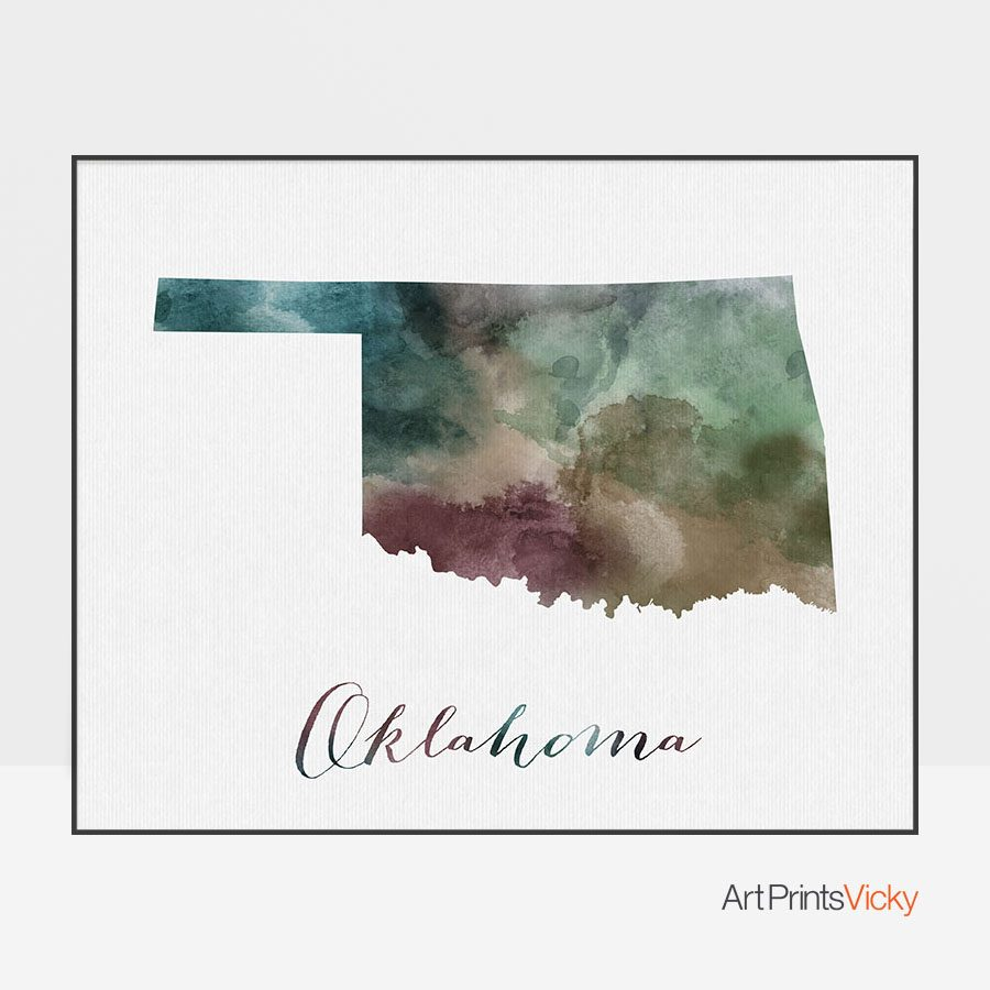 Oklahoma State map print