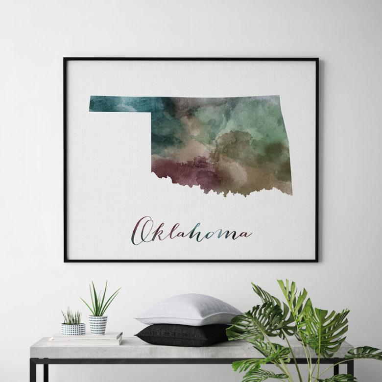 Oklahoma State map print second