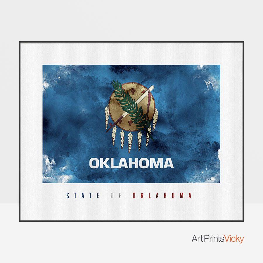 Oklahoma State flag art print
