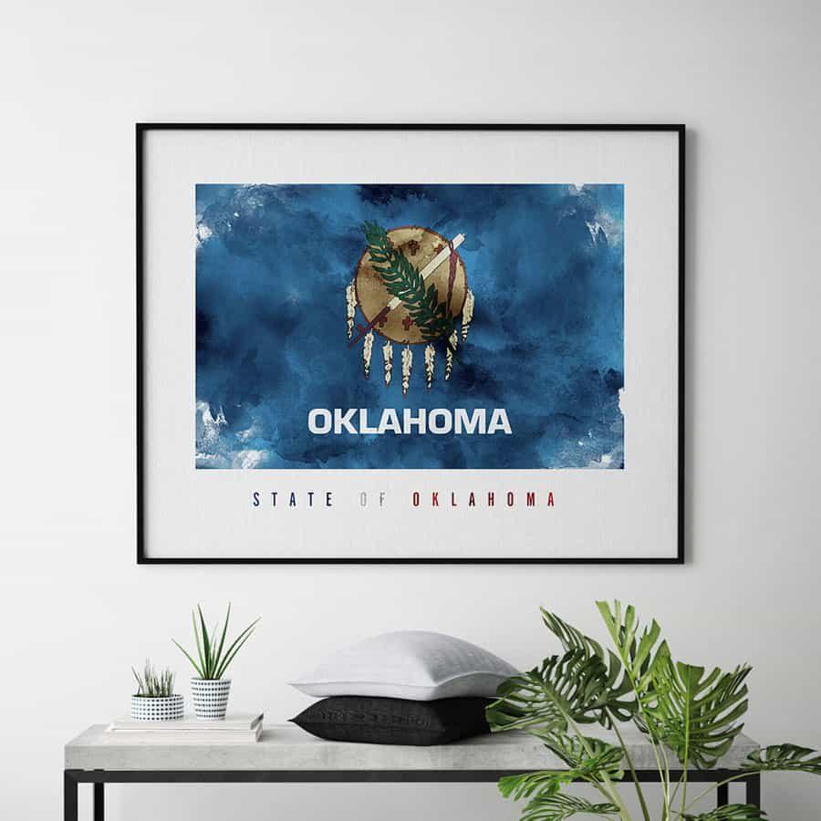 Oklahoma State flag art print second