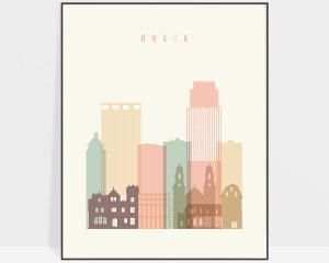 Omaha wall art pastel cream