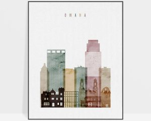 Omaha skyline art print watercolor 1