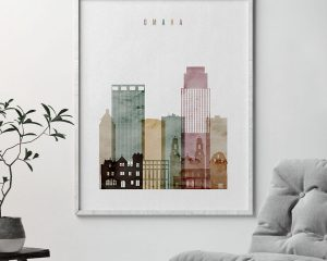 Omaha skyline art print watercolor 1 second