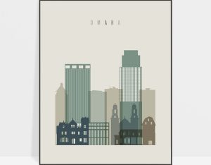 Omaha print skyline earth tones 1