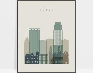 Omaha print skyline earth tones 1