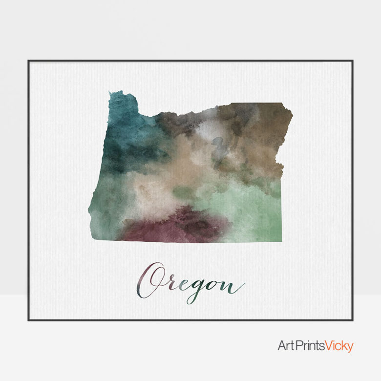 Oregon State map print