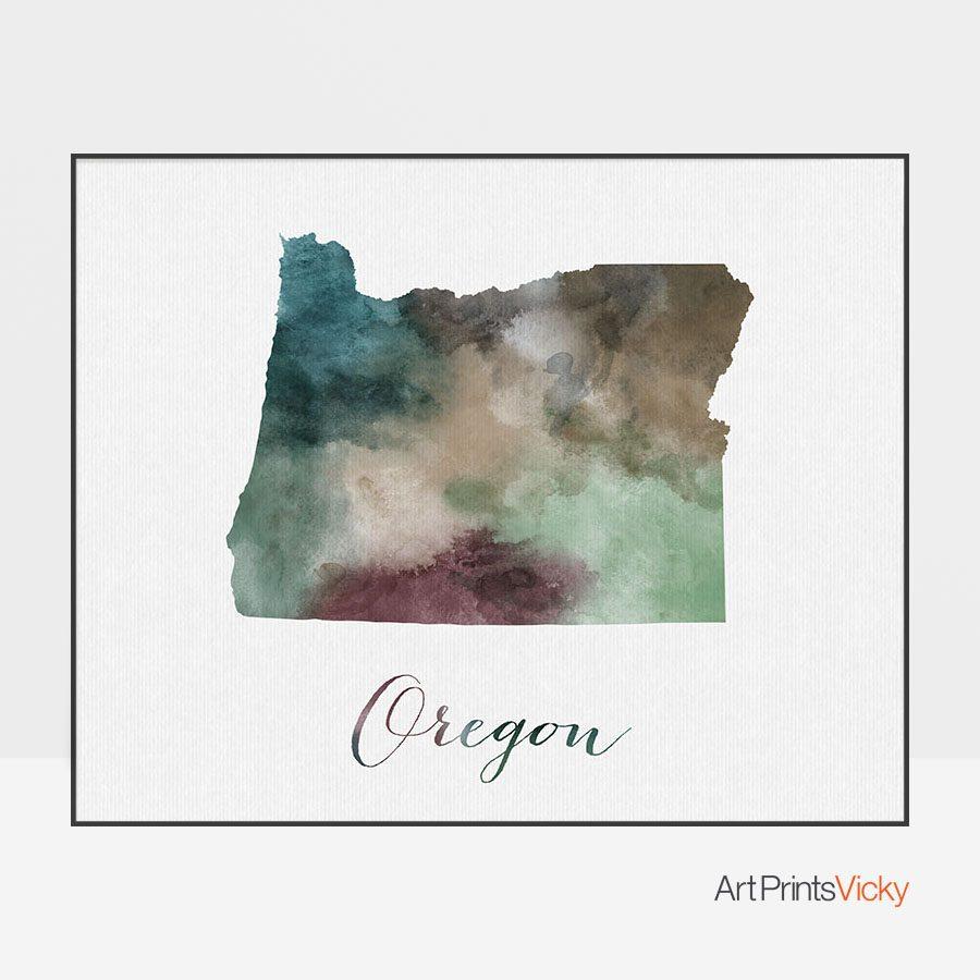 Oregon State map print