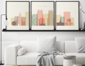 Orlando skyline set of 3 prints pastel cream second