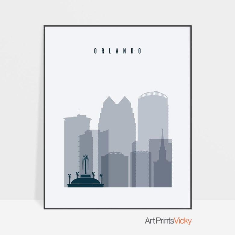 Orlando skyline poster grey blue