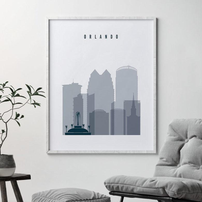 Orlando skyline poster grey blue second