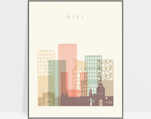 Oslo art print skyline pastel cream