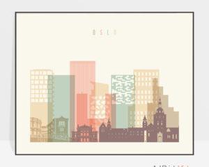 Oslo travel poster pastel cream landscape