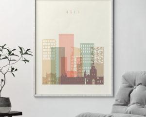 Oslo art print skyline pastel cream second