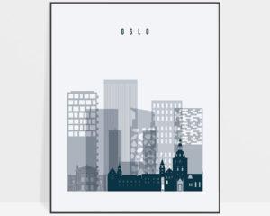 Oslo skyline poster grey blue