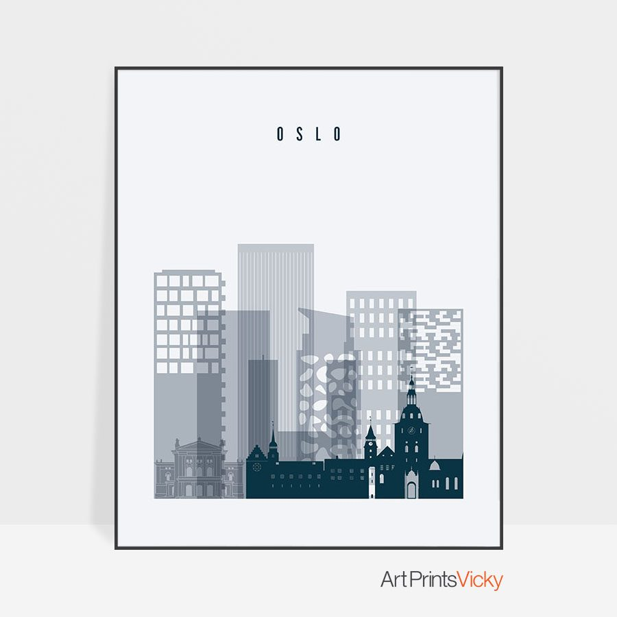 Oslo skyline poster grey blue