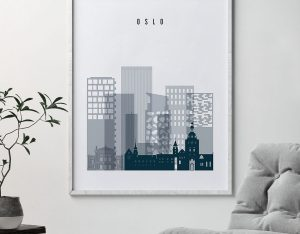 Oslo skyline poster grey blue second