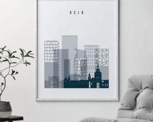 Oslo skyline poster grey blue second