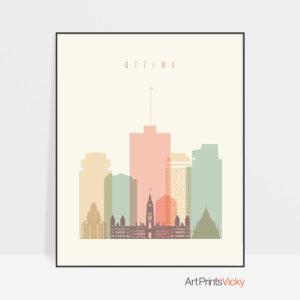 Ottawa art print skyline pastel cream