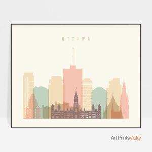 Ottawa poster skyline pastel cream landscape