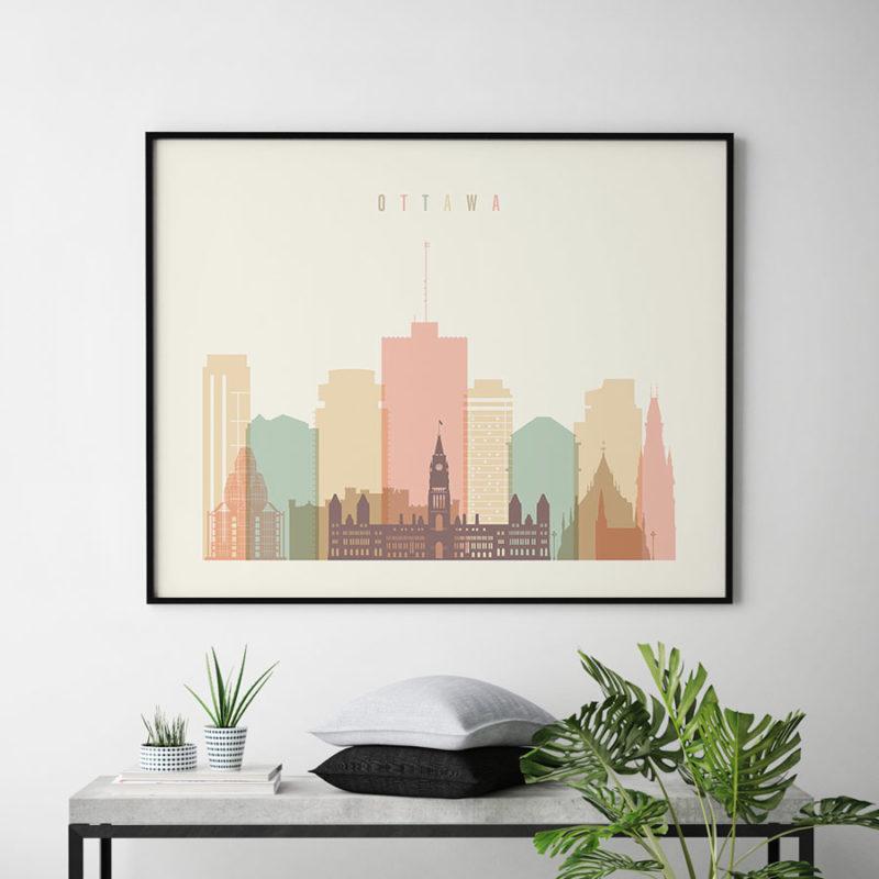Ottawa poster skyline pastel cream landscape second