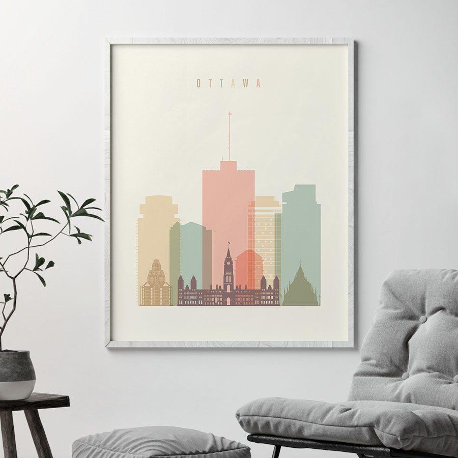 Ottawa art print skyline pastel cream second