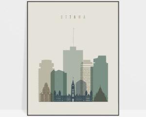 Ottawa print skyline earth tones 1