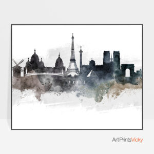 Paris art poster watercolor