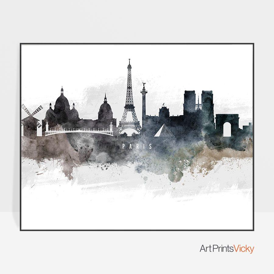 Paris art poster watercolor