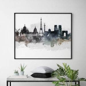 Paris art poster watercolor second