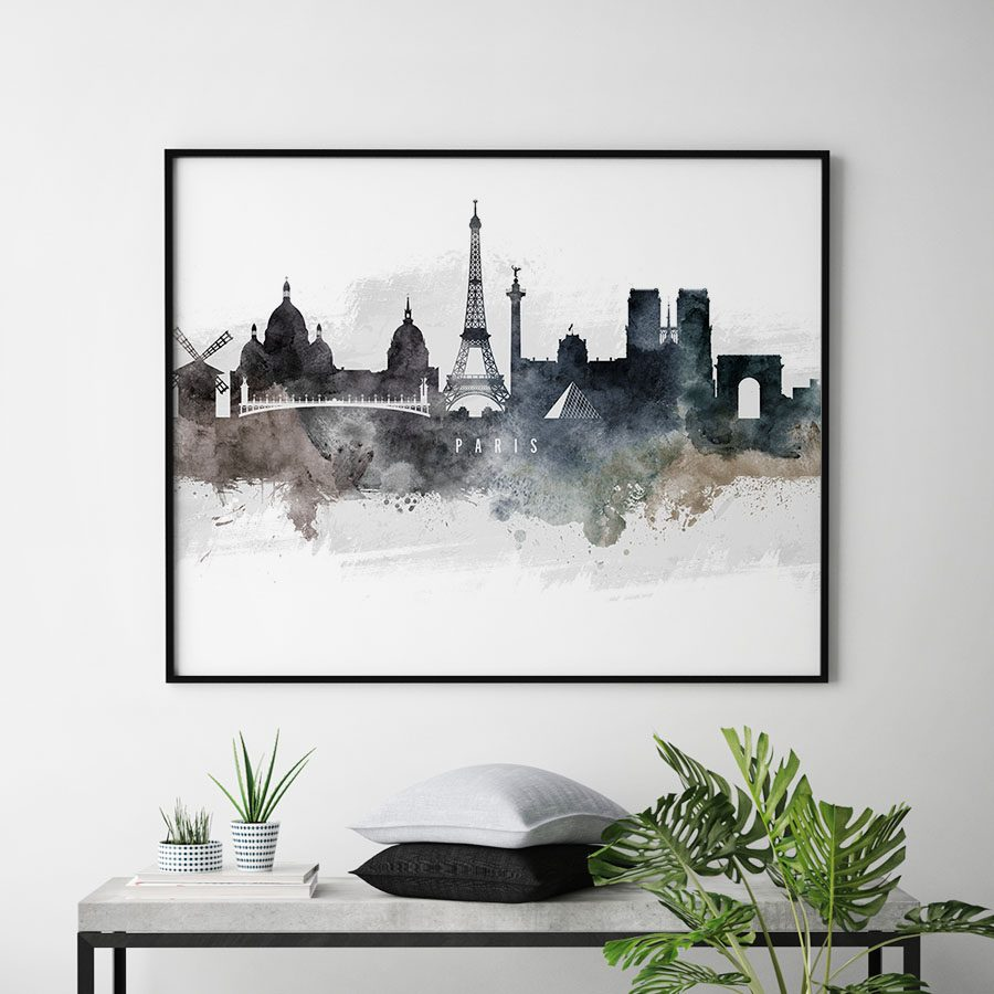 Paris art poster watercolor second