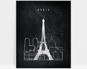 Paris chalkboard black white skyline print