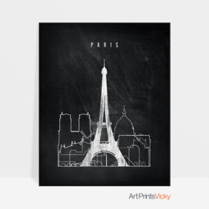 Paris chalkboard black white skyline print