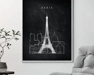 Paris chalkboard black white skyline print second